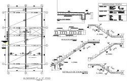 Staircase section plan detail dwg file