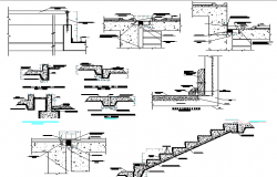 Staircase sectional and constructive details of industrial plant dwg file