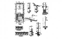 Staircases for house plan, section and construction details dwg file