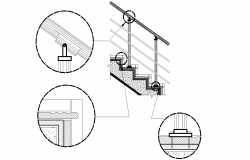 Stairs detail-risers and hand rails plan detail dwg file.