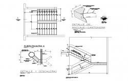 Stairways section and construction cad drawing details dwg file
