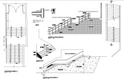 Stairways section and constructive structure cad drawing details dwg file