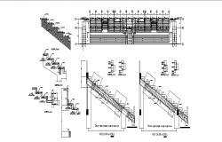 Stairways section and constructive structure details with plan dwg file