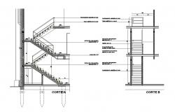 Stairways sectional and drawing details of housing floors dwg file