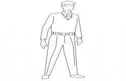 Standing man cad block design dwg file