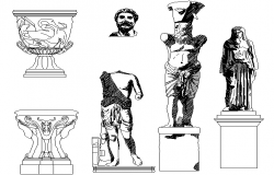 Statues elevation detail dwg file