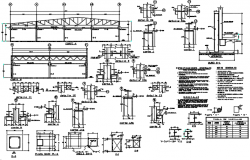 Steel framing section house detail dwg file