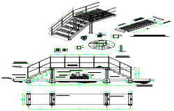 Steel platform stair entrance stair design drawing