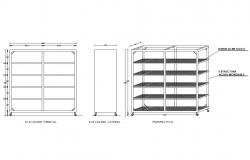 Steel shelf rack all sided elevation and auto-cad details dwg file