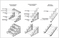 Steel stair stepped connections panel dwg file