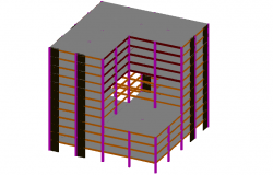 Steel structural 3d view of building dwg file