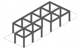 Steel structural framing 3 d plan detail dwg file