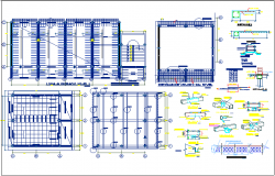 Steel structural plan and detail view of education center dwg file
