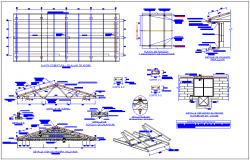 Steel structure detail view of education center dwg file