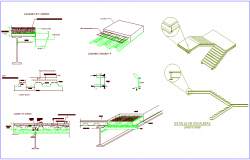 Steel structure detail view with stair of school dwg file