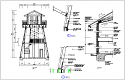 Steel structure elevation and section view detail dwg file