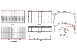 Steel structure elevation detail dwg file