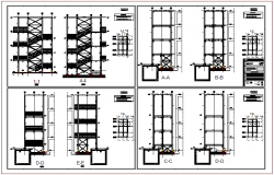 Steel structure elevation view of hospital exit stair dwg file