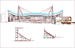 Steel structure elevation with detail for coliseum workshop dwg file