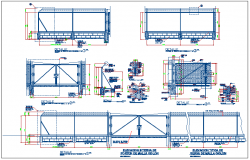 Steel structure fencing boundary and gate detail view dwg file