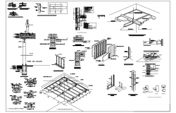 Steel structure of ceiling with detail view dwg file