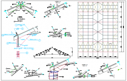 Steel structure of roof detail dwg file