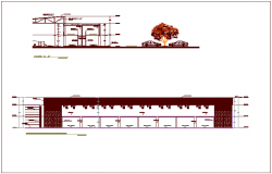 Steel structure view for zonal market with elevation and section view dwg file