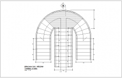 Steel structure view in way of entry way with railing view for office building dwg file