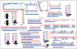 Steel structure view of collage with plan and section view dwg file
