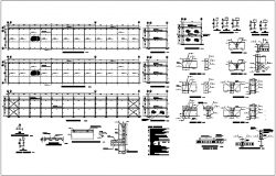 Steel structure view of office building with detail dwg file