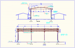Steel structure with elevation of education center dwg file