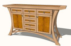 Stone field Arts and Crafts 3d wooden Sideboard cad drawing details skp file