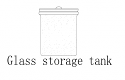 Storage tank of glass block front view dwg file