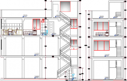 Store and Housing Residential Building Section Details dwg file