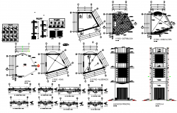 Store foundation plan  elevation detail dwg file.