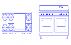 Stove design drawing with plan and elevation