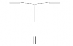 Street light with two sided lamp elevation view dwg file