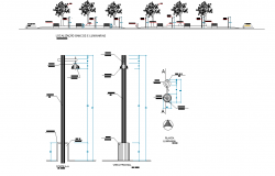Streetlight plan and elevation detail dwg file