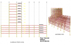Structural analysis of office building 3d model view detail dwg file