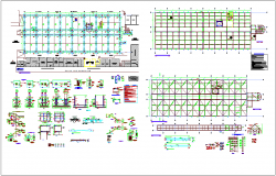 Structural design view of building with plan,column and stair detail view dwg file