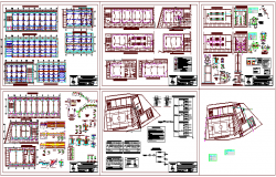 Structural design view of collage with view of column,beam and detail dwg file