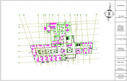 Structural design view of first floor plan for medical center dwg file