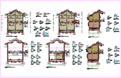 Structural design view of school with column view and detail dwg file