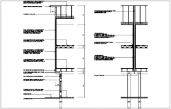 Structural design view of truss and wall view dwg file