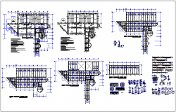 Structural design view with column and stair view with detail view for education center dwg file