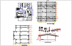 Structural design with column and truss view with plan of school dwg file