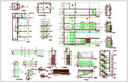 Structural detail view of beam,column and stair of conference building dwg file