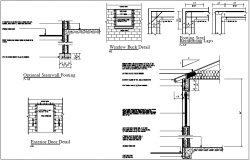 Structural detail view of footing with door and window detail dwg file