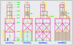 Structural elevation design of Tower for trash design drawing