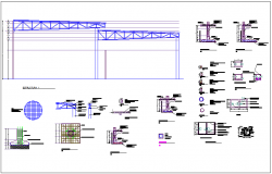 Structural elevation view with detail for automobile agency with showroom dwg file